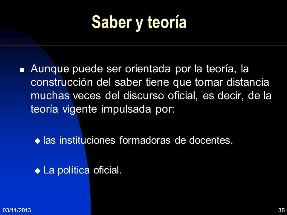 03/11/201335 Saber y teoría Aunque puede ser orientada por la teoría, la construcción del saber tiene que tomar distancia muchas veces del discurso of
