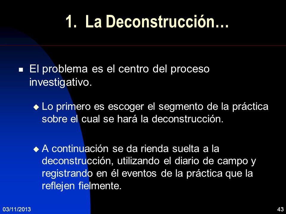 1. La Deconstrucción… El problema es el centro del proceso investigativo. Lo primero es escoger el segmento de la práctica sobre el cual se hará la de