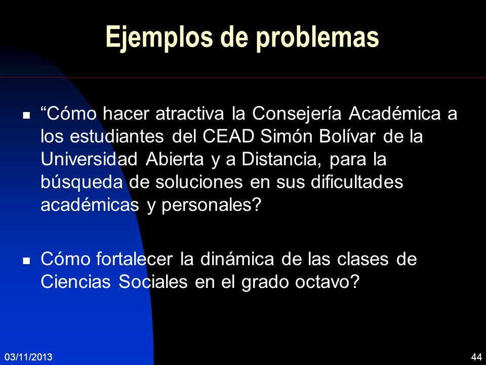 Ejemplos de problemas Cómo hacer atractiva la Consejería Académica a los estudiantes del CEAD Simón Bolívar de la Universidad Abierta y a Distancia, p