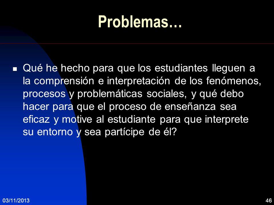 Problemas… Qué he hecho para que los estudiantes lleguen a la comprensión e interpretación de los fenómenos, procesos y problemáticas sociales, y qué