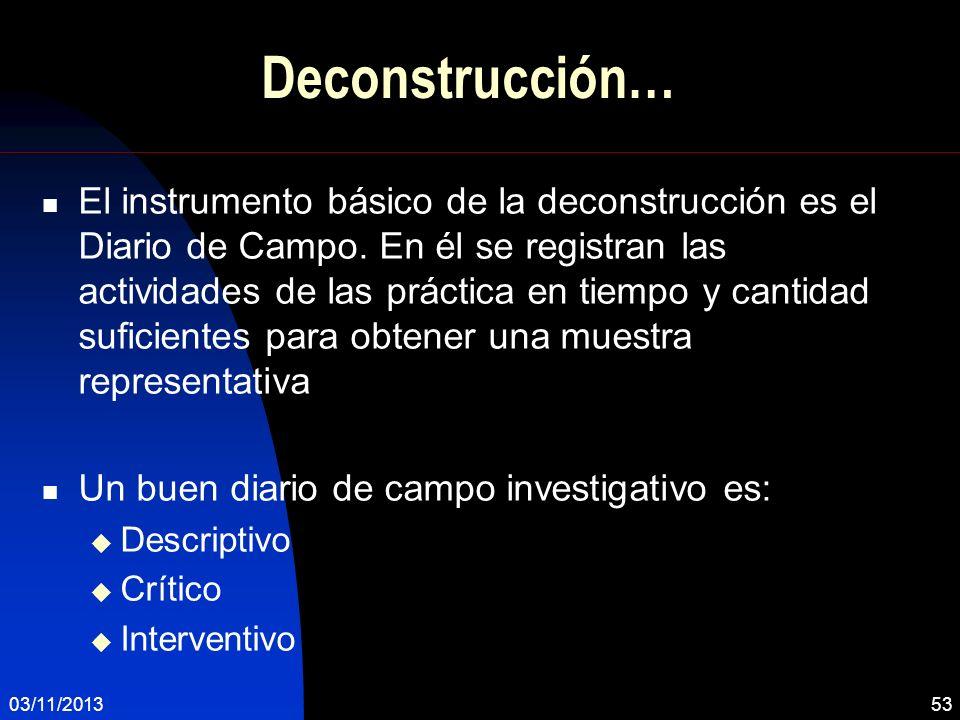Deconstrucción… El instrumento básico de la deconstrucción es el Diario de Campo. En él se registran las actividades de las práctica en tiempo y canti