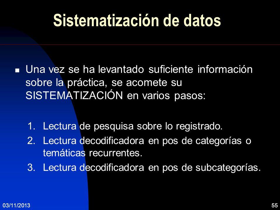 Sistematización de datos Una vez se ha levantado suficiente información sobre la práctica, se acomete su SISTEMATIZACIÓN en varios pasos: 1.Lectura de