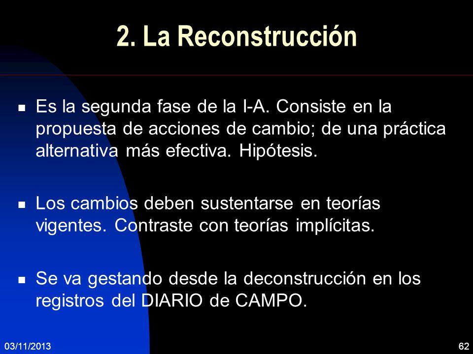 03/11/201362 2. La Reconstrucción Es la segunda fase de la I-A. Consiste en la propuesta de acciones de cambio; de una práctica alternativa más efecti