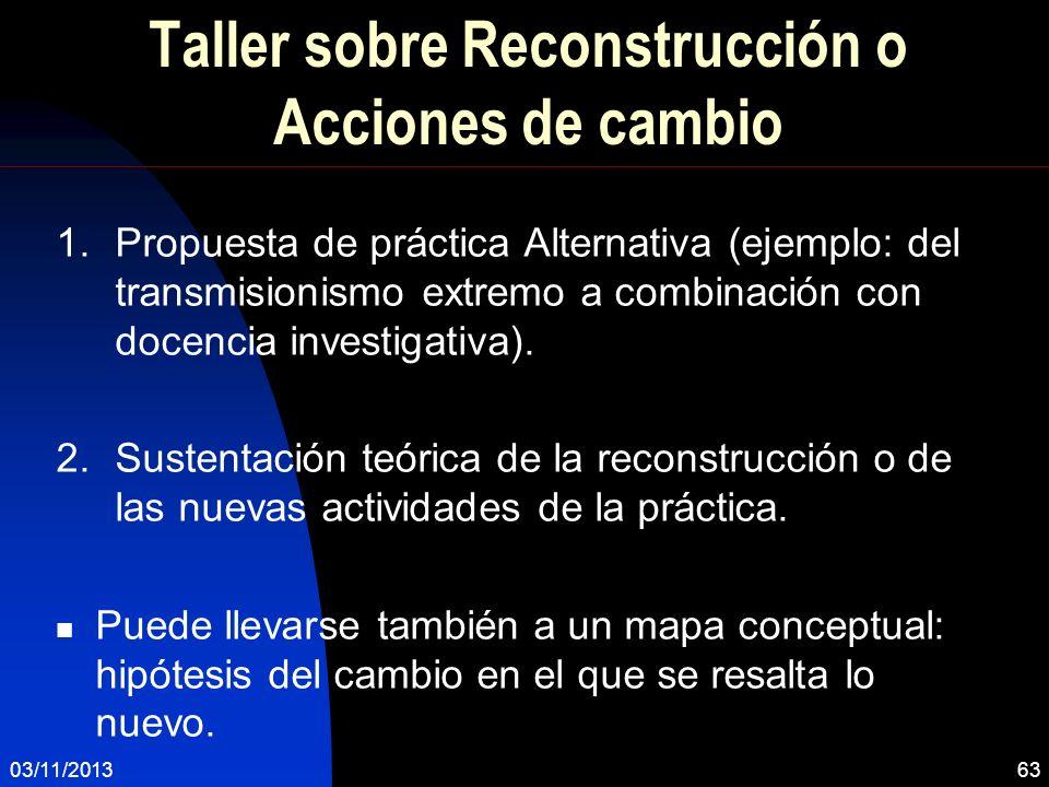 Taller sobre Reconstrucción o Acciones de cambio 1.Propuesta de práctica Alternativa (ejemplo: del transmisionismo extremo a combinación con docencia