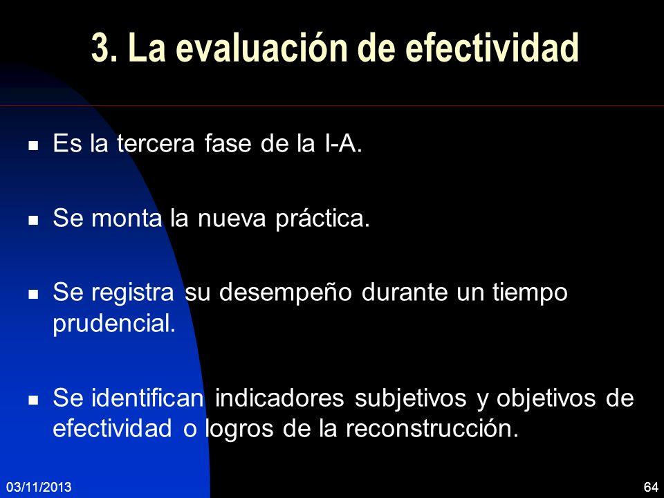 03/11/201364 3. La evaluación de efectividad Es la tercera fase de la I-A. Se monta la nueva práctica. Se registra su desempeño durante un tiempo prud