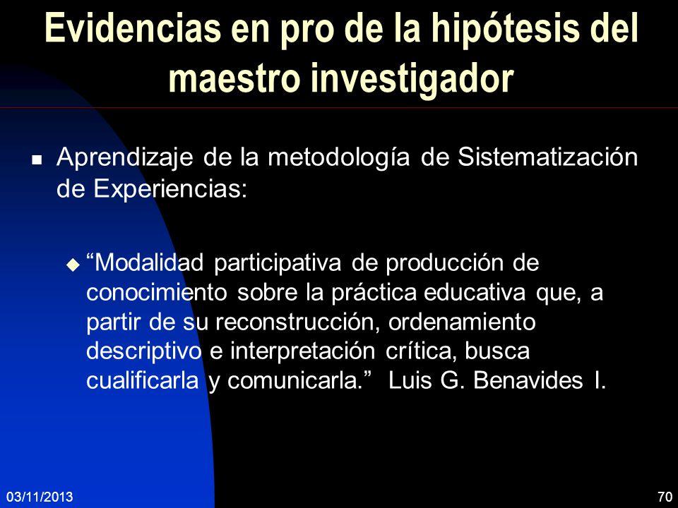 Evidencias en pro de la hipótesis del maestro investigador Aprendizaje de la metodología de Sistematización de Experiencias: Modalidad participativa d
