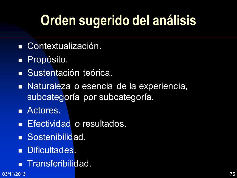 Orden sugerido del análisis Contextualización. Propósito. Sustentación teórica. Naturaleza o esencia de la experiencia, subcategoría por subcategoría.