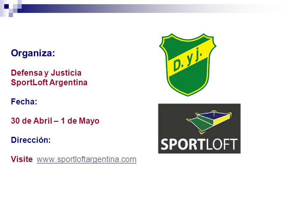 Organiza: Defensa y Justicia SportLoft Argentina Fecha: 30 de Abril – 1 de Mayo Dirección: Visite www.sportloftargentina.comwww.sportloftargentina.com