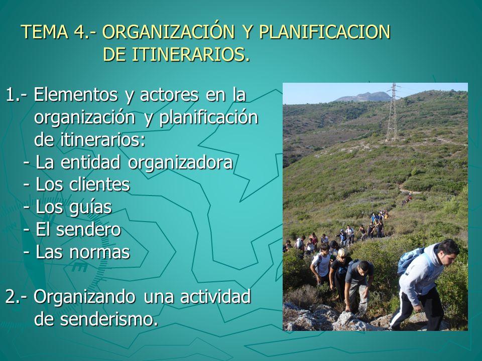 TEMA 4.- ORGANIZACIÓN Y PLANIFICACION DE ITINERARIOS. 1.- Elementos y actores en la organización y planificación organización y planificación de itine