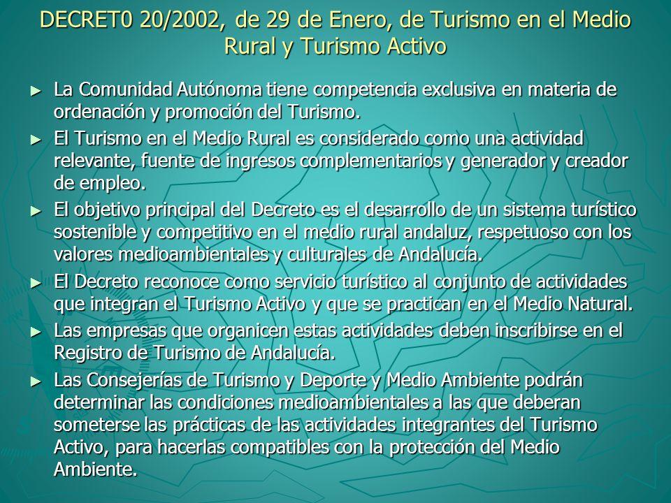 DECRET0 20/2002, de 29 de Enero, de Turismo en el Medio Rural y Turismo Activo La Comunidad Autónoma tiene competencia exclusiva en materia de ordenac