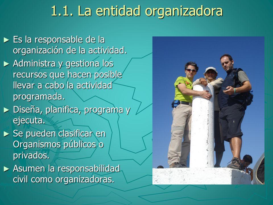 1.1. La entidad organizadora Es la responsable de la organización de la actividad. Administra y gestiona los recursos que hacen posible llevar a cabo