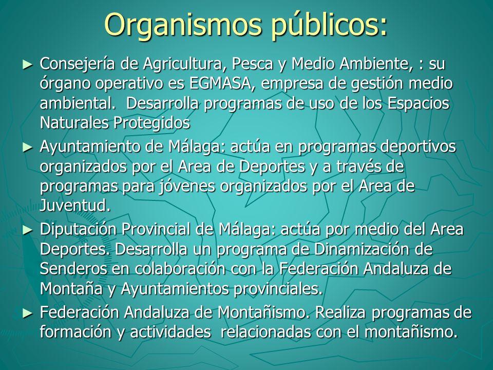 Organismos públicos: Consejería de Agricultura, Pesca y Medio Ambiente, : su órgano operativo es EGMASA, empresa de gestión medio ambiental. Desarroll