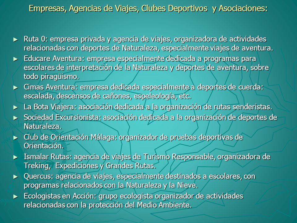 Empresas, Agencias de Viajes, Clubes Deportivos y Asociaciones: Ruta 0: empresa privada y agencia de viajes, organizadora de actividades relacionadas