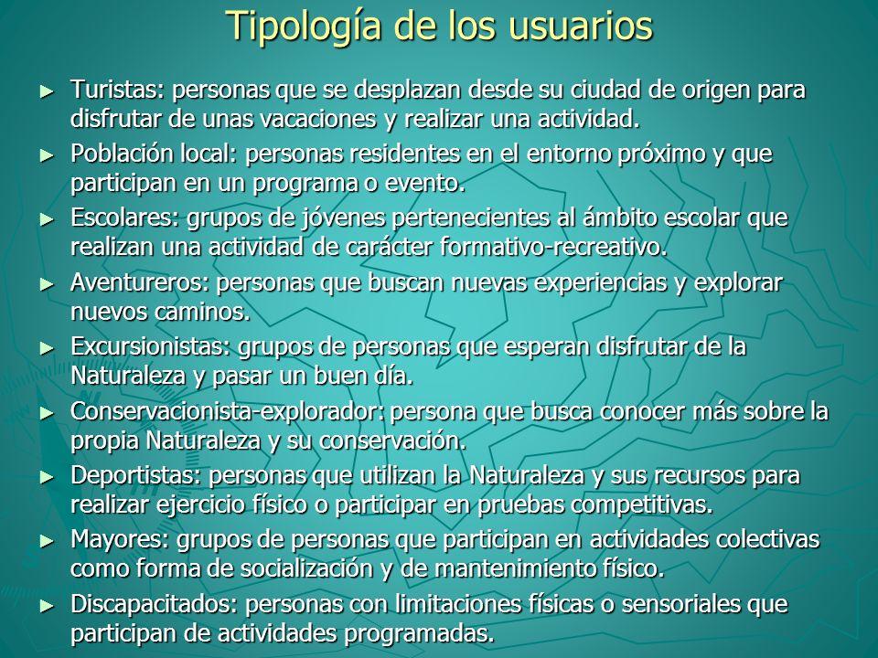 Tipología de los usuarios Turistas: personas que se desplazan desde su ciudad de origen para disfrutar de unas vacaciones y realizar una actividad. Tu