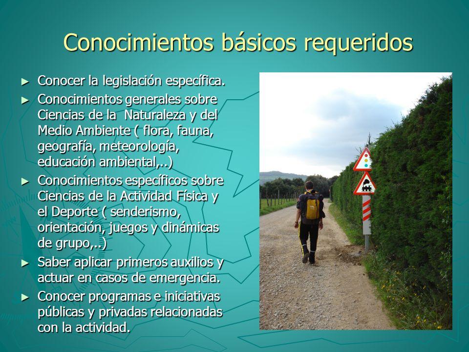 Conocimientos básicos requeridos Conocimientos básicos requeridos Conocer la legislación específica. Conocer la legislación específica. Conocimientos