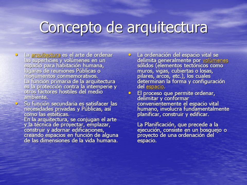 Concepto de arquitectura La arquitectura es el arte de ordenar las superficies y volúmenes en un espacio para habitación humana, lugares de reuniones