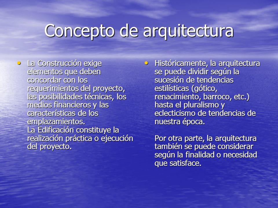Concepto de arquitectura La Construcción exige elementos que deben concordar con los requerimientos del proyecto, las posibilidades técnicas, los medi