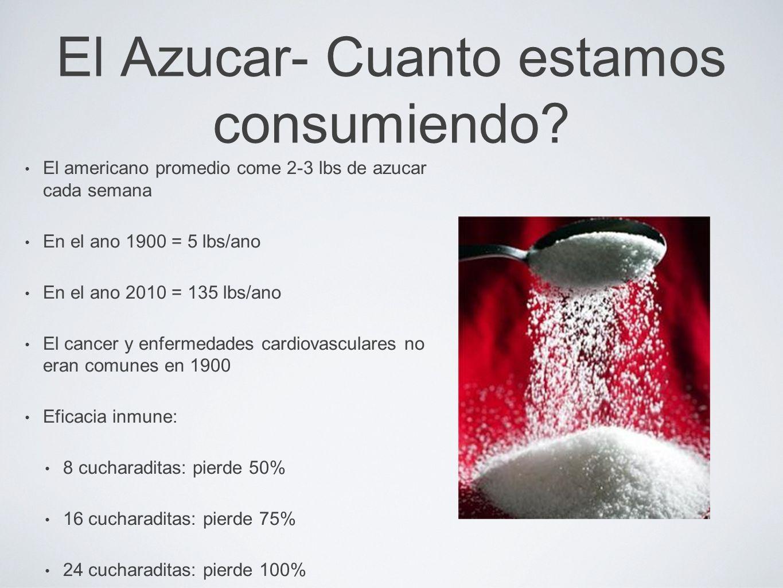 El Azucar- Cuanto estamos consumiendo? El americano promedio come 2-3 lbs de azucar cada semana En el ano 1900 = 5 lbs/ano En el ano 2010 = 135 lbs/an