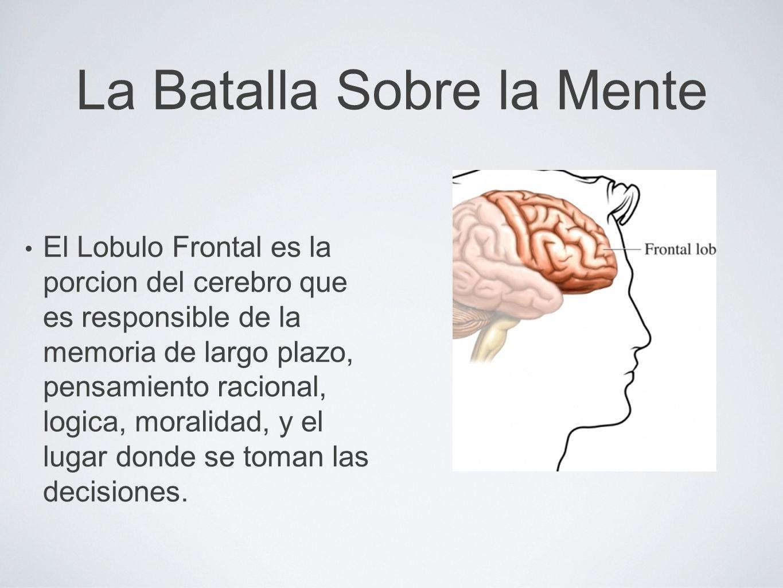 La Batalla Sobre la Mente El Lobulo Frontal es la porcion del cerebro que es responsible de la memoria de largo plazo, pensamiento racional, logica, m