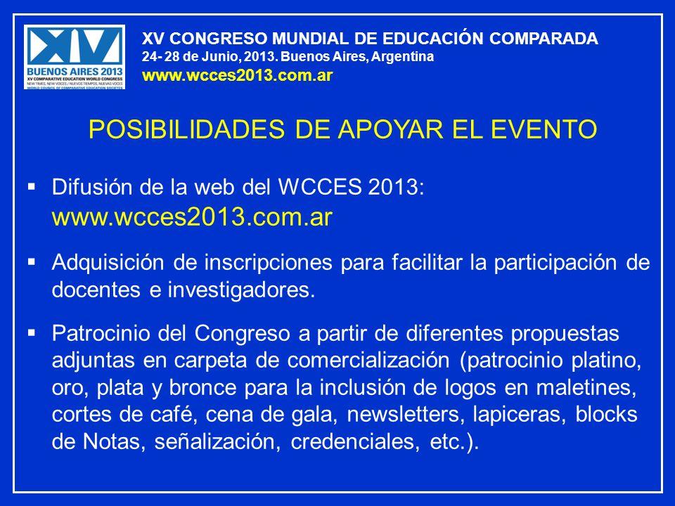XV CONGRESO MUNDIAL DE EDUCACIÓN COMPARADA 24- 28 de Junio, 2013. Buenos Aires, Argentina www.wcces2013.com.ar POSIBILIDADES DE APOYAR EL EVENTO Difus