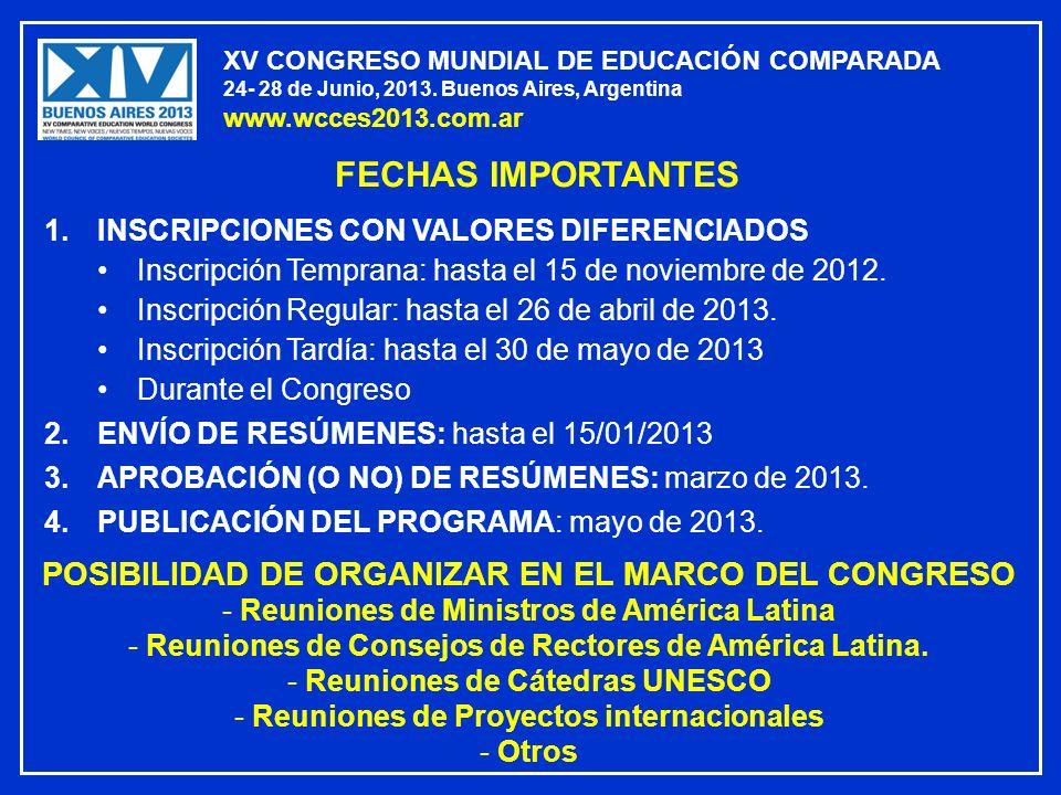 XV CONGRESO MUNDIAL DE EDUCACIÓN COMPARADA 24- 28 de Junio, 2013. Buenos Aires, Argentina www.wcces2013.com.ar FECHAS IMPORTANTES 1.INSCRIPCIONES CON