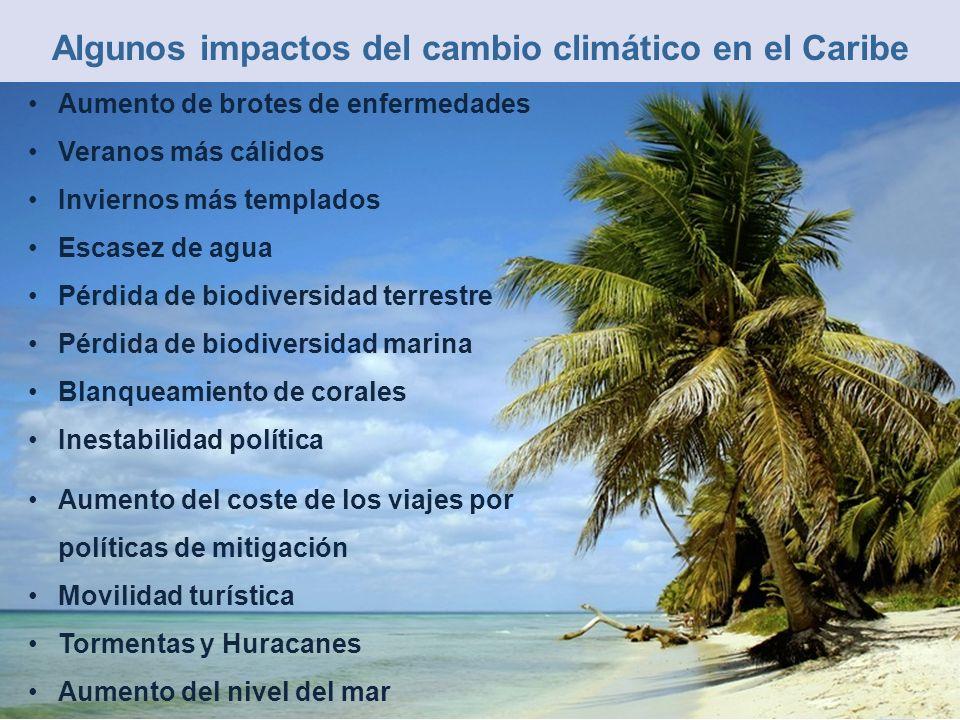 Algunos impactos del cambio climático en el Caribe Aumento de brotes de enfermedades Veranos más cálidos Inviernos más templados Escasez de agua Pérdi