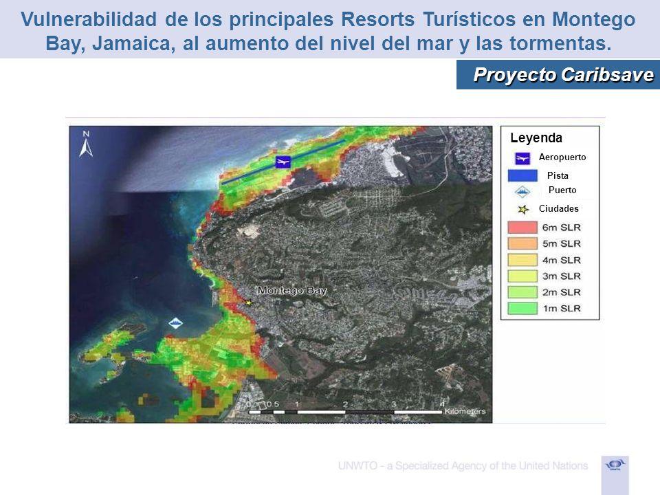 Aeropuerto Pista Puerto Ciudades Leyenda Vulnerabilidad de los principales Resorts Turísticos en Montego Bay, Jamaica, al aumento del nivel del mar y