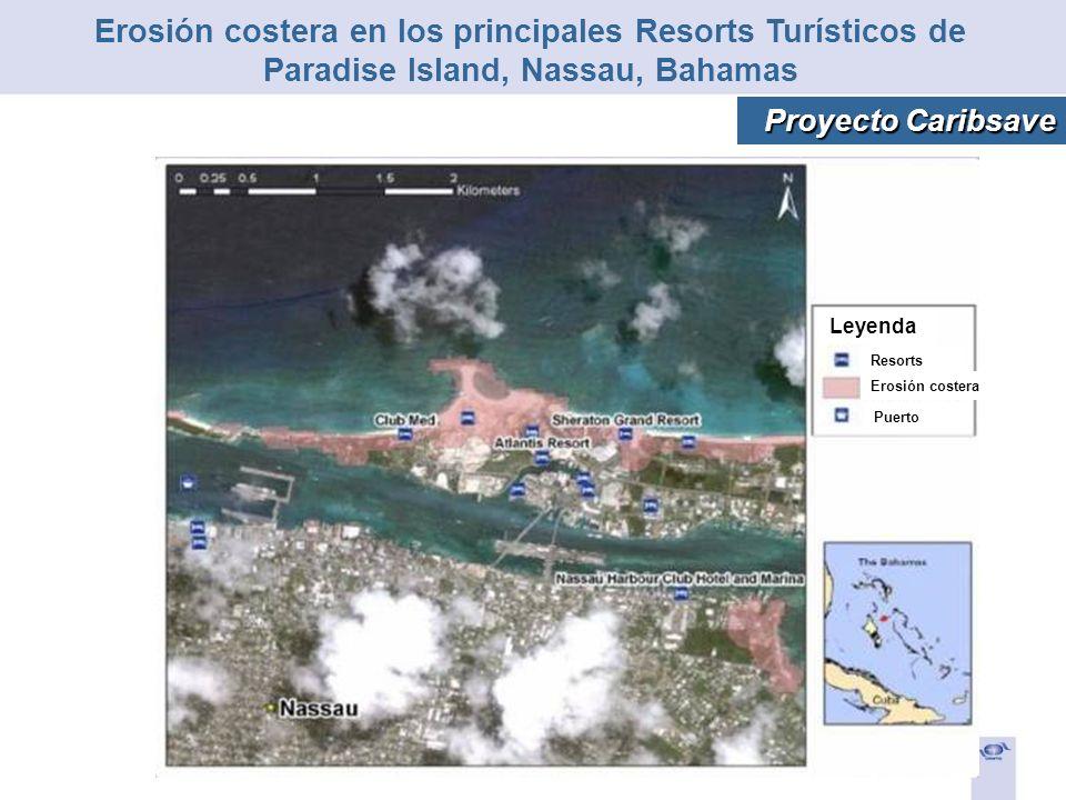 Leyenda Erosión costera Puerto Resorts Erosión costera en los principales Resorts Turísticos de Paradise Island, Nassau, Bahamas Proyecto Caribsave