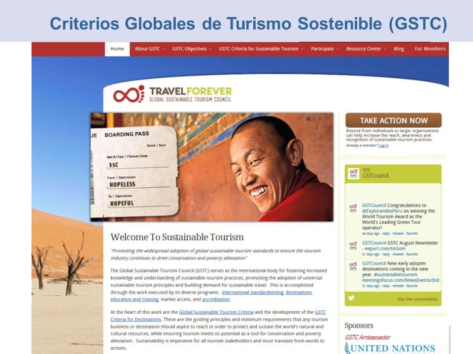40 Criterios en 4 Categorías Social y Económico CulturalMedioambiental Gestión Sostenible Criterios Globales de Turismo Sostenible (GSTC)