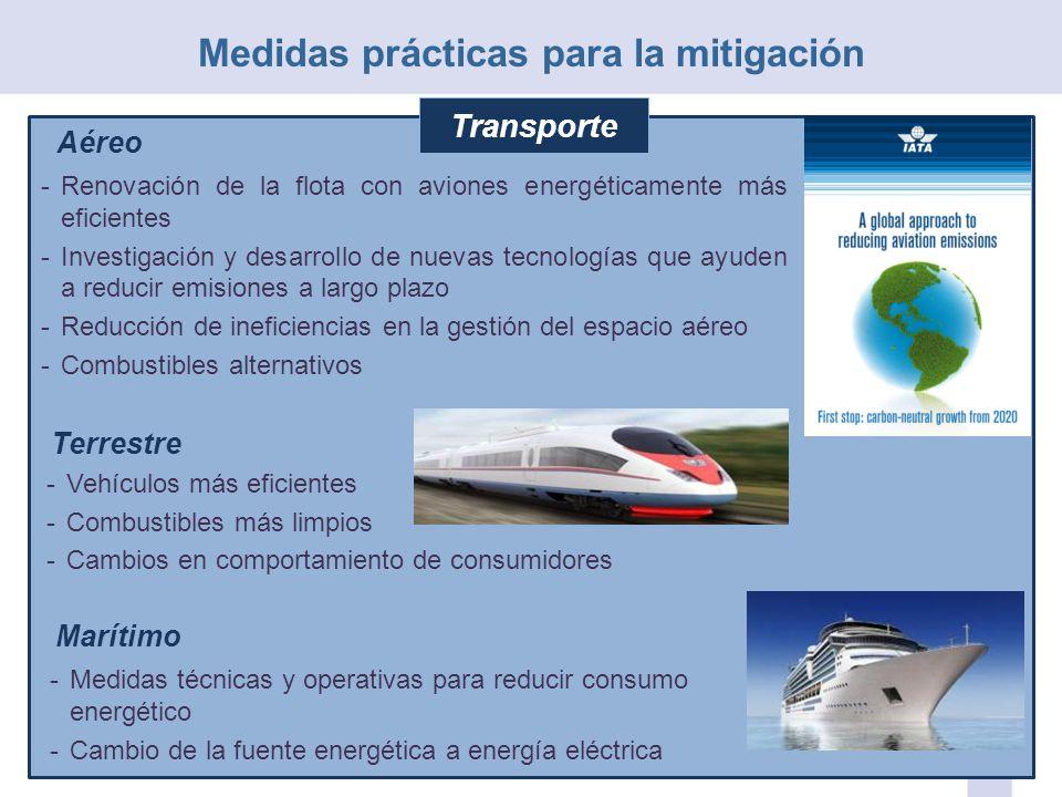 Aéreo -Renovación de la flota con aviones energéticamente más eficientes -Investigación y desarrollo de nuevas tecnologías que ayuden a reducir emisio