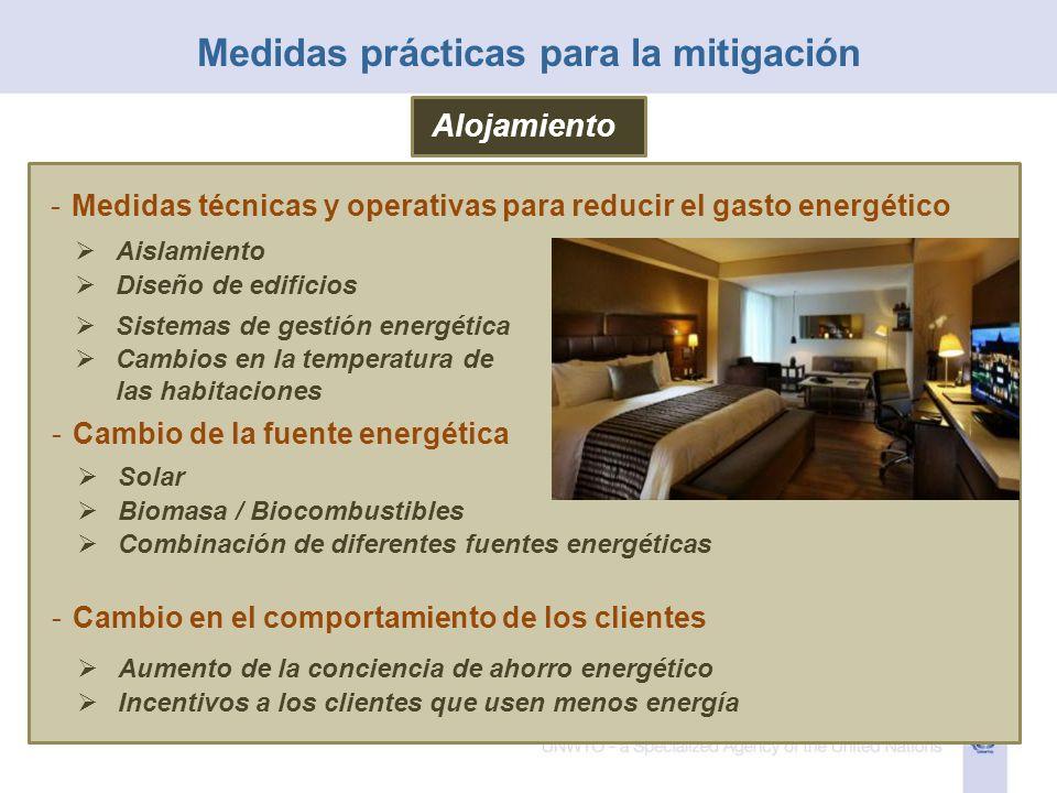 Alojamiento -Medidas técnicas y operativas para reducir el gasto energético Aislamiento Diseño de edificios Sistemas de gestión energética Cambios en