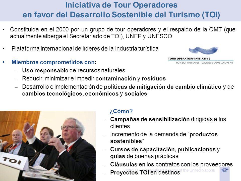 Plataforma internacional de líderes de la industria turística Miembros comprometidos con: Uso responsable de recursos naturales Reducir, minimizar e i