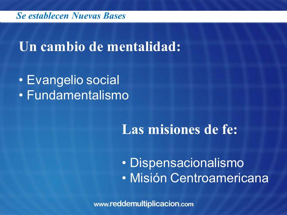 Un cambio de mentalidad: Evangelio social Fundamentalismo Las misiones de fe: Dispensacionalismo Misión Centroamericana Se establecen Nuevas Bases