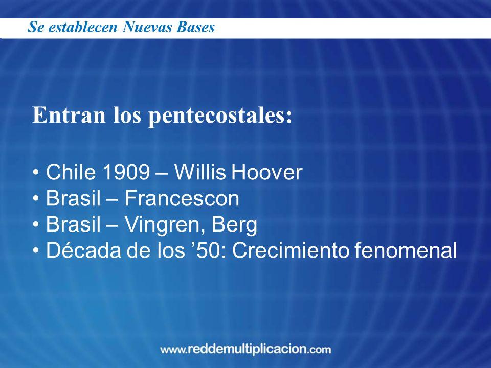 Entran los pentecostales: Chile 1909 – Willis Hoover Brasil – Francescon Brasil – Vingren, Berg Década de los 50: Crecimiento fenomenal Se establecen