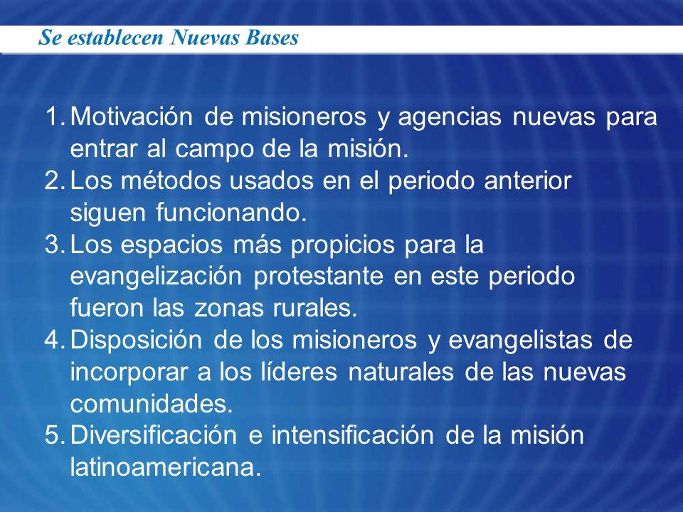 1.Motivación de misioneros y agencias nuevas para entrar al campo de la misión. 2.Los métodos usados en el periodo anterior siguen funcionando. 3.Los