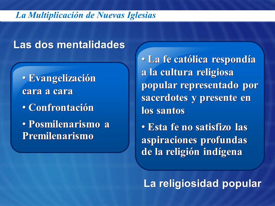 Las dos mentalidades Evangelización cara a cara Confrontación Posmilenarismo a Premilenarismo Evangelización cara a cara Confrontación Posmilenarismo