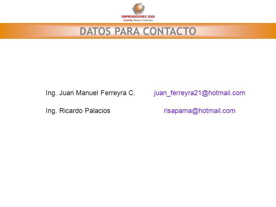 DATOS PARA CONTACTO Ing. Juan Manuel Ferreyra C.juan_ferreyra21@hotmail.com Ing. Ricardo Palaciosrisapama@hotmail.com