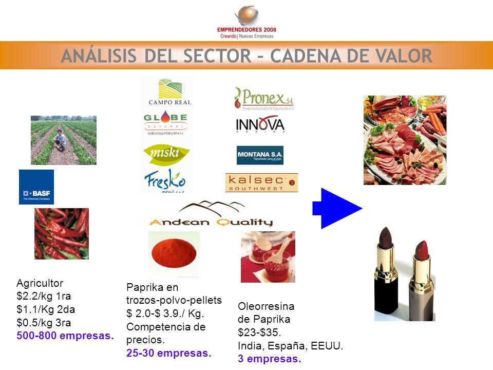 ANÁLISIS DEL SECTOR – CADENA DE VALOR Paprika en trozos-polvo-pellets $ 2.0-$ 3.9./ Kg. Competencia de precios. 25-30 empresas. Oleorresina de Paprika