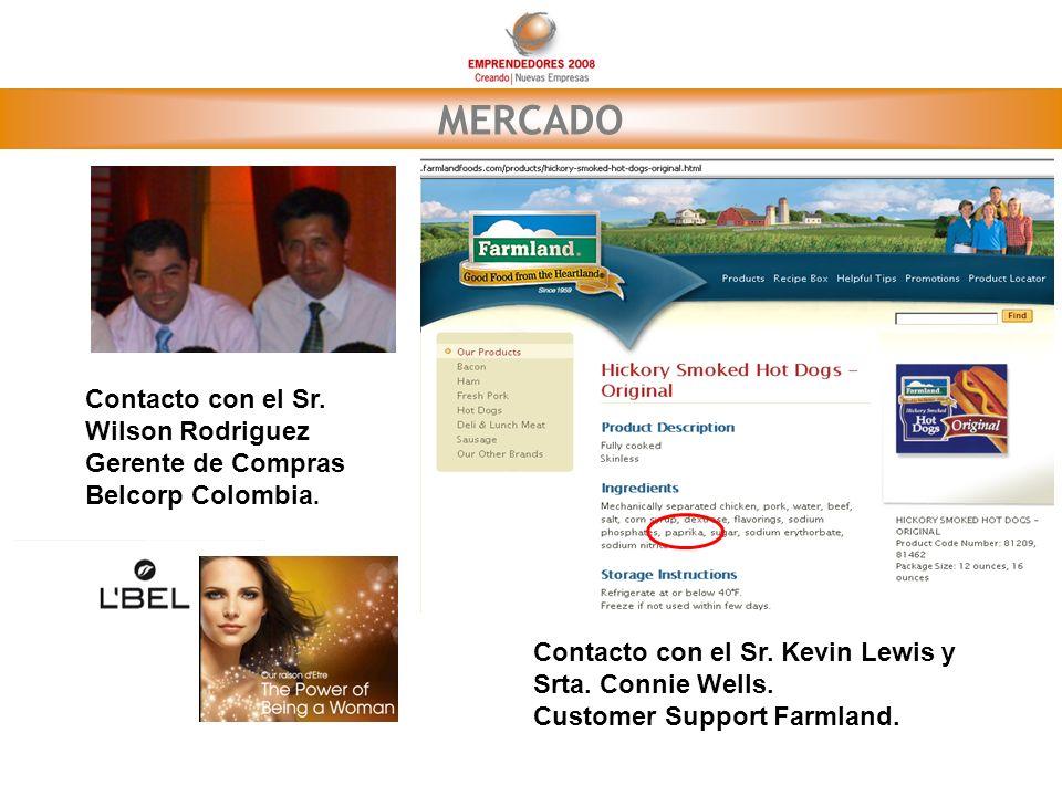 MERCADO Contacto con el Sr. Wilson Rodriguez Gerente de Compras Belcorp Colombia. Contacto con el Sr. Kevin Lewis y Srta. Connie Wells. Customer Suppo