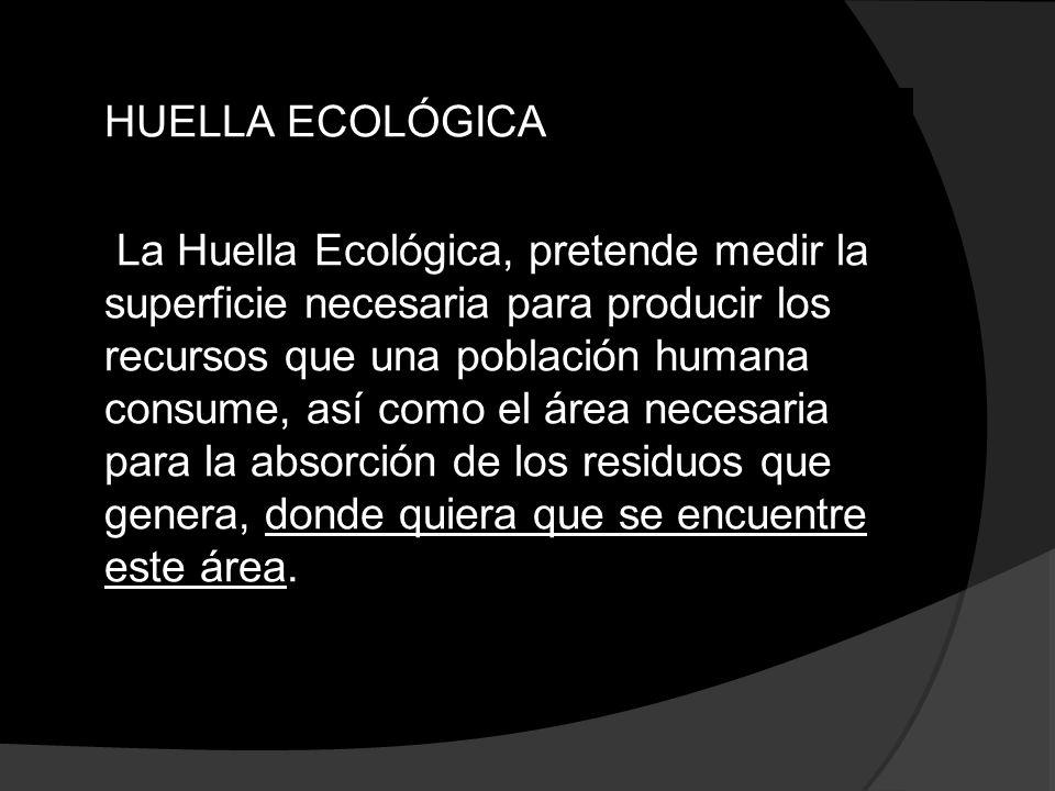 HUELLA ECOLÓGICA La Huella Ecológica, pretende medir la superficie necesaria para producir los recursos que una población humana consume, así como el