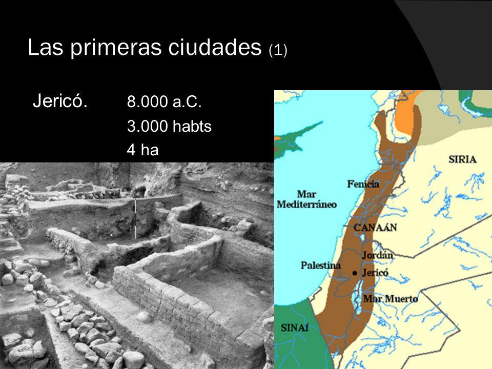 Las primeras ciudades (1) Jericó. 8.000 a.C. 3.000 habts 4 ha