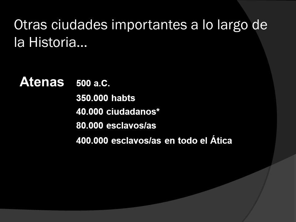 Otras ciudades importantes a lo largo de la Historia… Atenas 500 a.C. 350.000 habts 40.000 ciudadanos* 80.000 esclavos/as 400.000 esclavos/as en todo