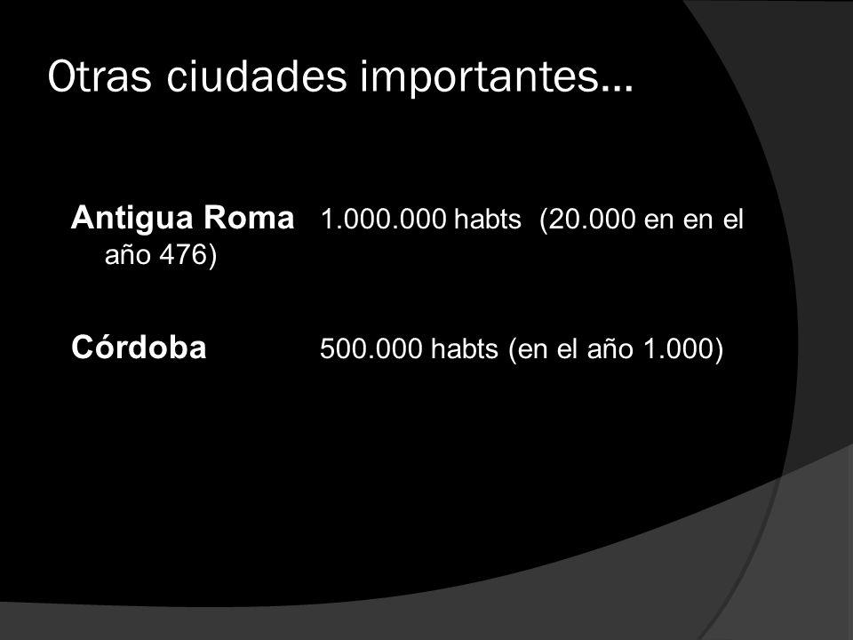 Otras ciudades importantes… Antigua Roma 1.000.000 habts (20.000 en en el año 476) Córdoba 500.000 habts (en el año 1.000)