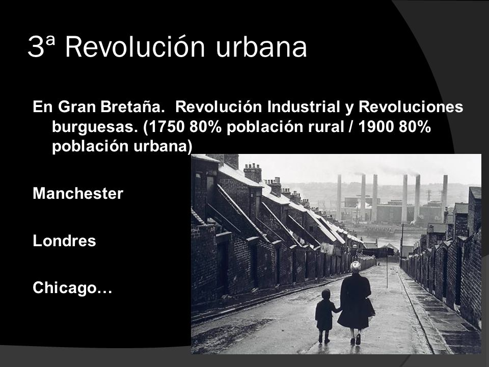 3ª Revolución urbana En Gran Bretaña.Revolución Industrial y Revoluciones burguesas. (1750 80% población rural / 1900 80% población urbana) Manchester