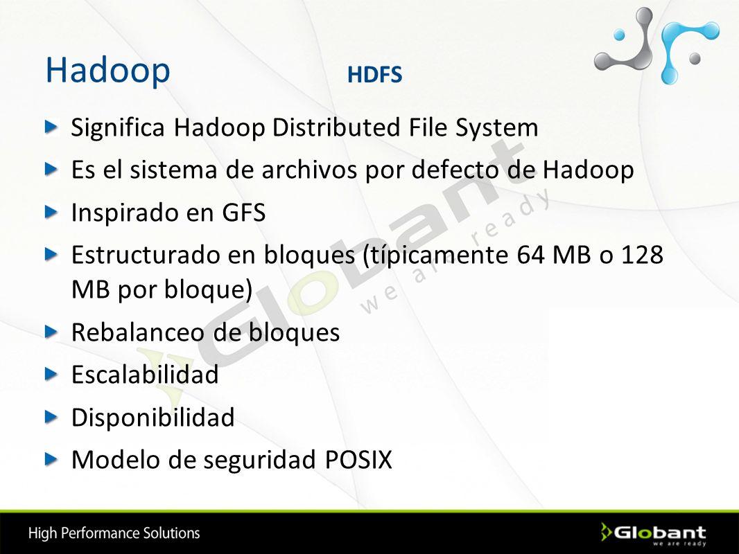 Hadoop Significa Hadoop Distributed File System Es el sistema de archivos por defecto de Hadoop Inspirado en GFS Estructurado en bloques (típicamente