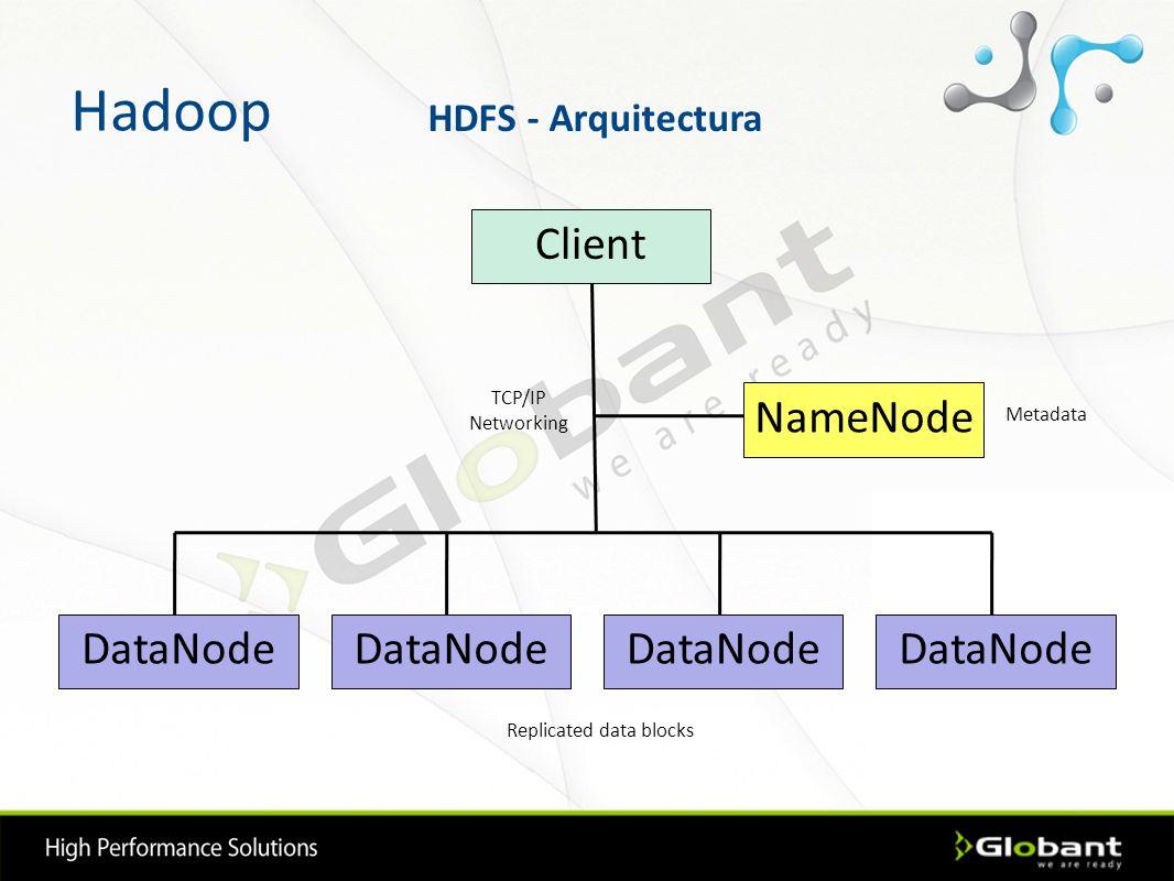 Hadoop NameNode DataNode Client TCP/IP Networking Metadata Replicated data blocks HDFS - Arquitectura