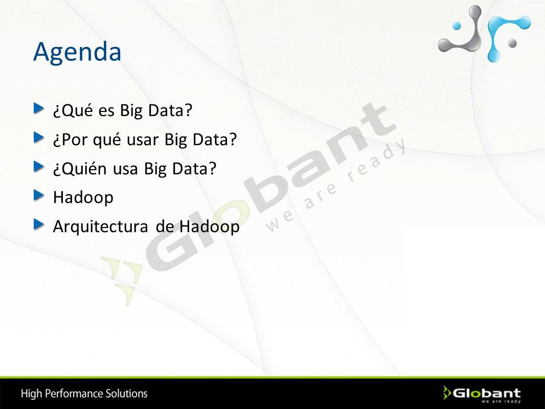 Agenda ¿Qué es Big Data? ¿Por qué usar Big Data? ¿Quién usa Big Data? Hadoop Arquitectura de Hadoop