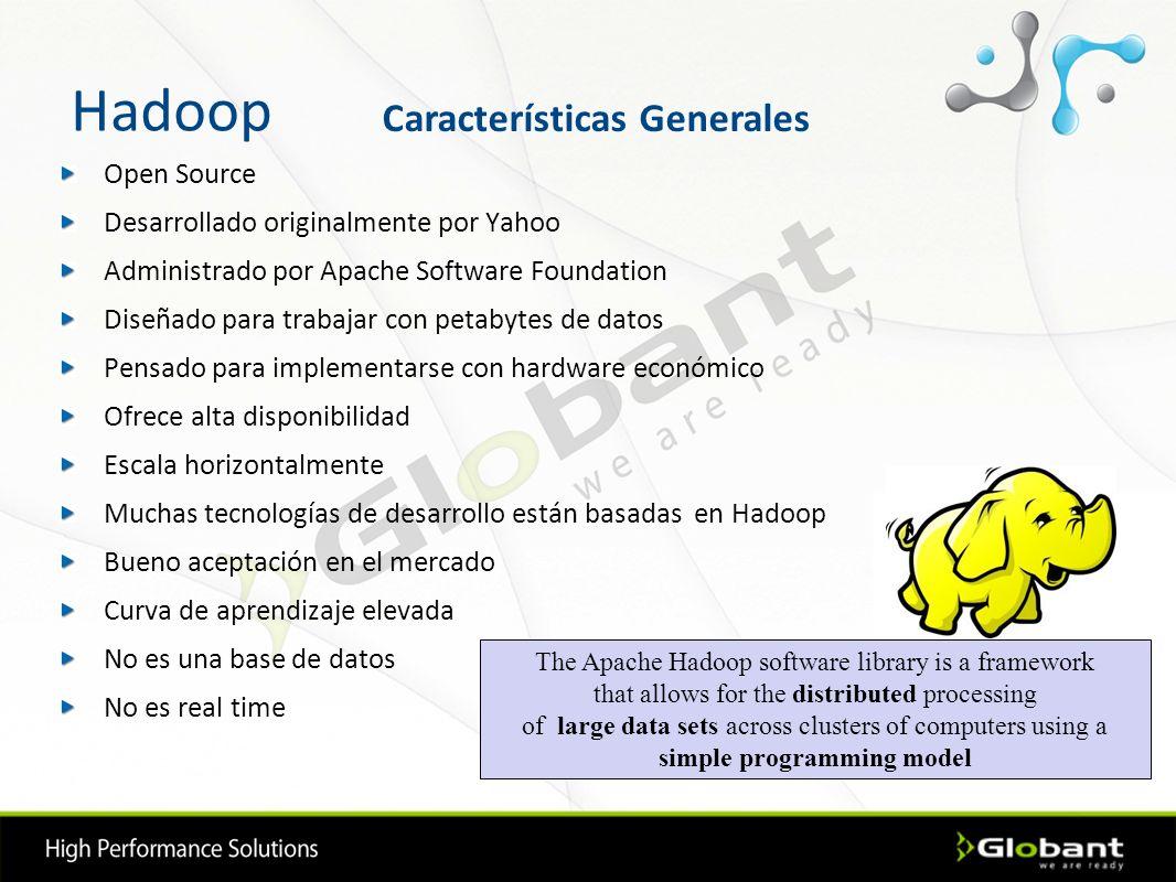 Hadoop Open Source Desarrollado originalmente por Yahoo Administrado por Apache Software Foundation Diseñado para trabajar con petabytes de datos Pens
