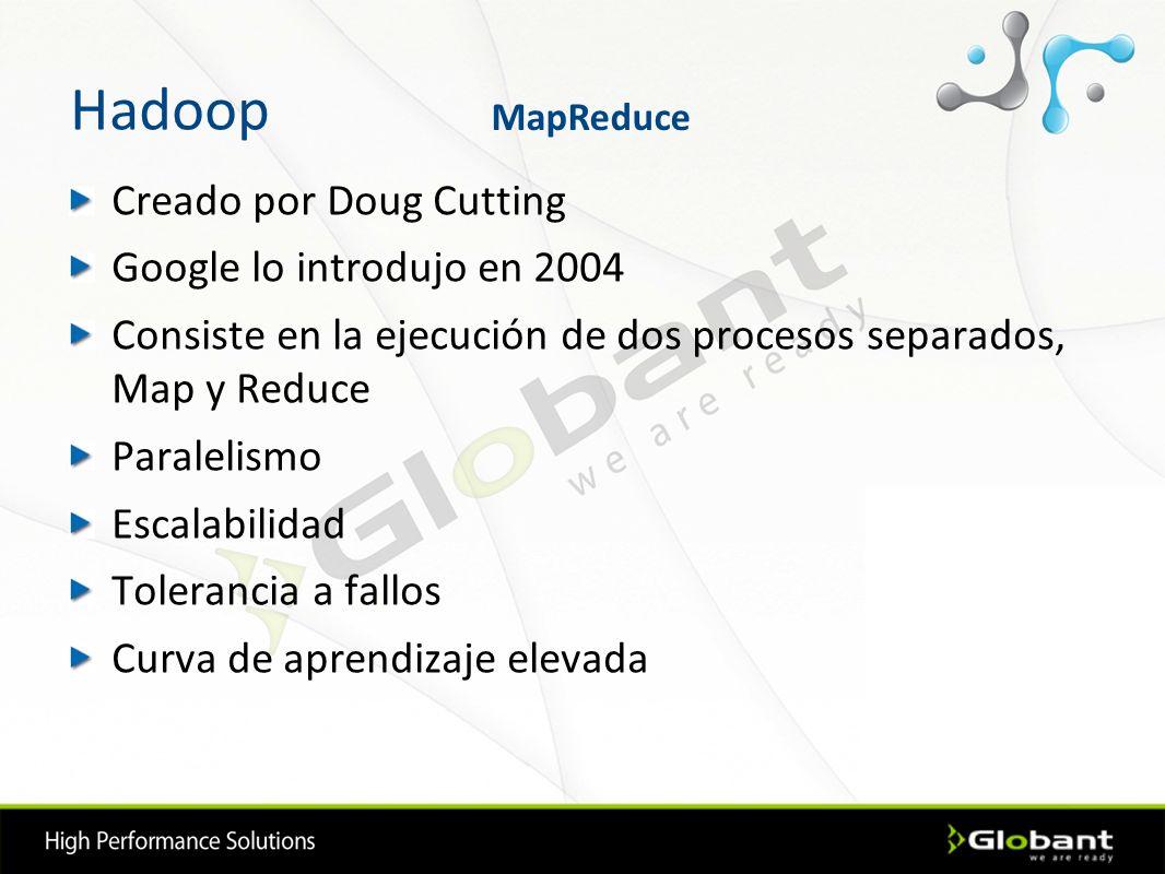 Hadoop Creado por Doug Cutting Google lo introdujo en 2004 Consiste en la ejecución de dos procesos separados, Map y Reduce Paralelismo Escalabilidad