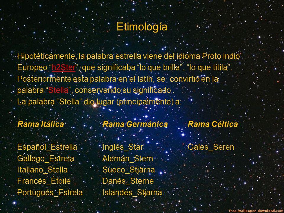 Etimología Hipotéticamente, la palabra estrella viene del idioma Proto indio Europeo h2Ster; que significaba lo que brilla, lo que titila. Posteriorme